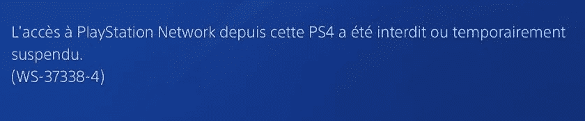 PS4 bannie message